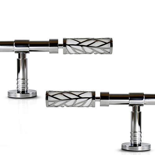 """Gcurtain Barra de Cortina de Metal Diámetro Estándar 3/4"""" - 5/8"""" (16-19 mm) Ajustable Fácil Ventana Decorativa Diseño Elegante - Rama Blanca / 26"""" -48""""(70-120Cm)"""