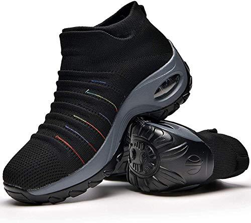 Zapatos Deporte Mujer Zapatillas Deportivas Correr Gimnasio Casual Zapatos para Caminar Mesh Running Transpirable Aumentar Más Altos Sneakers Black-39