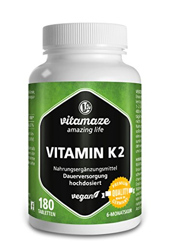 Vitamin K2 hochdosiert & vegan, 200 mcg MK-7 Menaquinon (zertifiziert, All-Trans-Form), 180 Tabletten 6 Monatsvorrat, Natürliche Nahrungsergänzung ohne Zusatzstoffe, Made in Germany