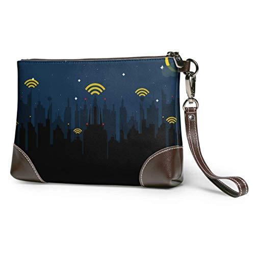 Ahdyr Bolso de mano de cuero suave impermeable para mujer, bolso de mano con Wifi, signo creativo, cartera grande para mujer con cremallera para mujeres y niñas