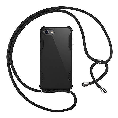 xinyunew Custodia per Cellulare Girocollo per iPhone 8 /iPhone 7 Case Case Tracolla Necklace Cordoncino Custodia con Cordino per Apple iPhone 8 /iPhone 7 Nero