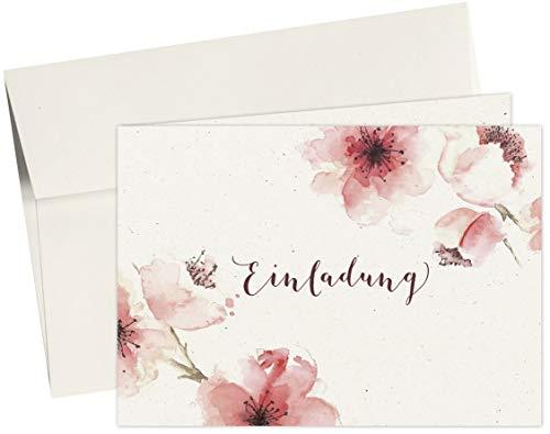 20 Karten & 20 Umschläge: Klappkarten Einladungskarten – Kirschblüten – DIN A6 im Set, Einladung zur Hochzeit, Taufe, Geburtstag, Konfirmation, Kommunion, Jubiläum