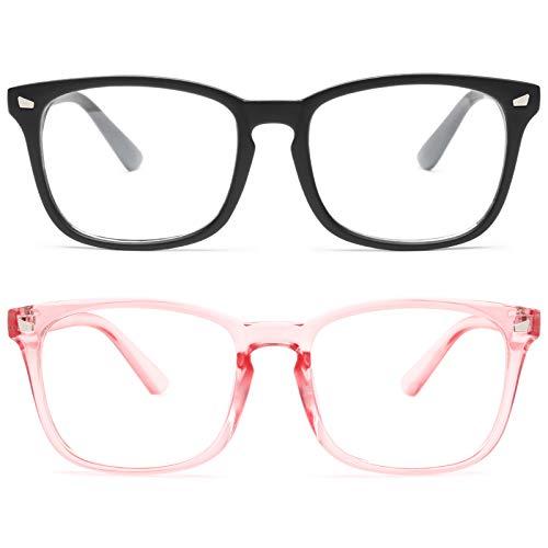 livho 2 Pack Blue Light Blocking Glasses, Computer Reading/Gaming/TV/Phones Glasses for Women Men,Anti Eyestrain & UV Glare (Matte Black+Clear Pink)