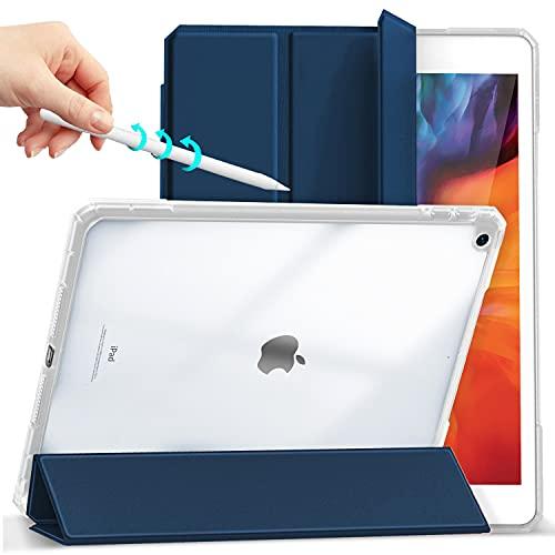 Gahwa Funda para iPad 10,2 Pulgadas 9ª Gen 2021/8ª Gen 2020/iPad 7ª Gen 2019, Case Carcasa Smart Cover con Función Soporte Auto-Sueño/Estela, Carcasa con Soporte Integrado para Pencil - Azul Marino