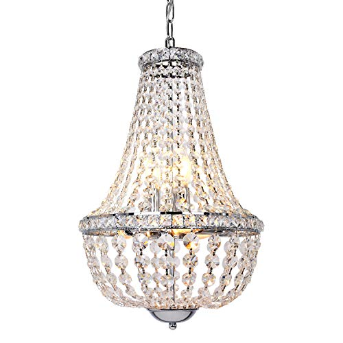 6-Light Crystal Pendant Chandelier Lighting with 13.5 inch Empire Ceiling Light for Dining Room an others