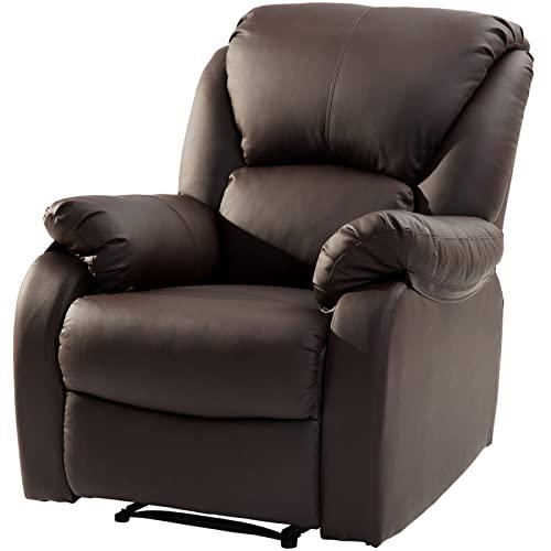 SUNWEII Sillón TV Sillón Relax, sillón con función de Dormir, sillón reclinable con reposapiernas Ajustable Sillón TV de Cuero sintético Sillón TV reclinable 160 °,1pc