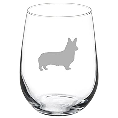 17 oz Stemless Wine Glass Corgi