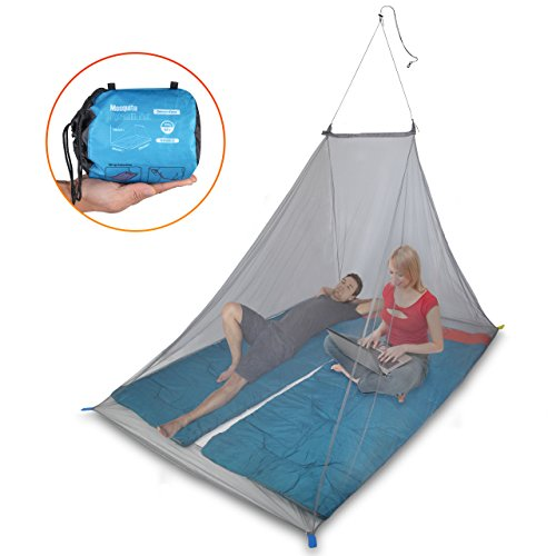 Dimples Excel 2 Person Camping Mosquito Net Outdoor Travel Insect Mosquito Netting, Triangle Fly Screen, Insect Protection with Hanging Kit and Carry Bag (2 Person Mosquito Net)