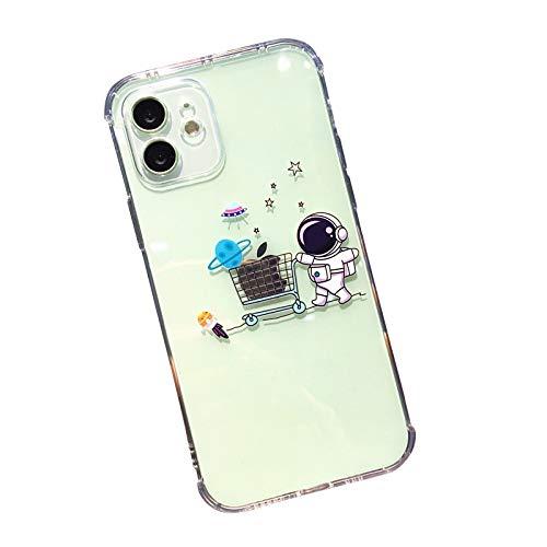FancyHülle Kompatibel mit iPhone 12 Mini (5,4 Zoll) Lustiges Astronautenmuster Weiche Silikon Schutzhülle Transparent iPhone 12 Mini Hülle (Shopping Astronaut)