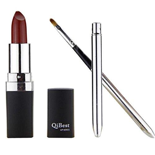 Fulltime ® Imperméable Long Lasting Lipstick Vampire style Lip Gloss + Mini lèvres brosse (rouge)