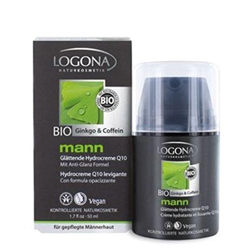 LOGONA Naturkosmetik mann glättende Hydrocreme, Gesichtscreme, Mindert Falten und zieht schnell ein, Vegan, Mit Q10 und Bio-Koffein, Integrierte Bartpflege, 50 ml