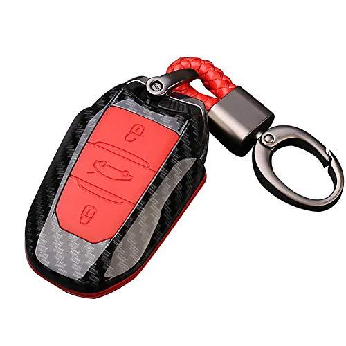 Happyit ABS Shell en Fibre de Carbone + Silicone Couverture de Cas Clé de Voiture Porte-clés pour Peugeot 301 308 408 508 2008 3085 3008 307 206 3 Boutons (Rouge)