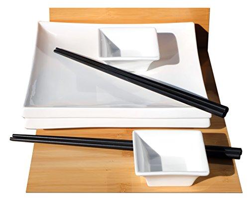 Set de sushi carré en céramique blanche pour 2 personnes
