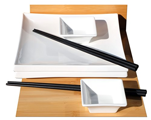 Sushi-Set für 2 im japanischen Stil, quadratisch, aus Keramik