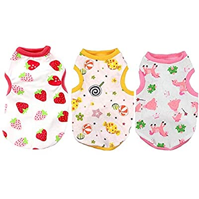 ABRRLO 3 Pack Dog Shirts Cotton Pet Dog Clothes Cute Print Vest for Small Dogs Cats Puppy T shirts Outfit Doggie Pajamas Clothing