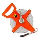 QWORK 1/2' x 330' Open Reel Dual Sided Fiberglass Tape Measure for Engineer