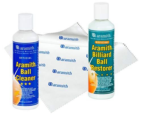 Aramith Bündel mit 3 Stück Billardkugel-Reiniger, Billardkugel-Restorer, 23,5 ml Bottles & Aramith Mikrofasertuch