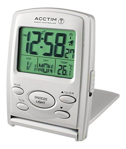 Acctim 71707 Vista MSF - Reloj Despertador de Viaje (Pantalla LCD multifunción)
