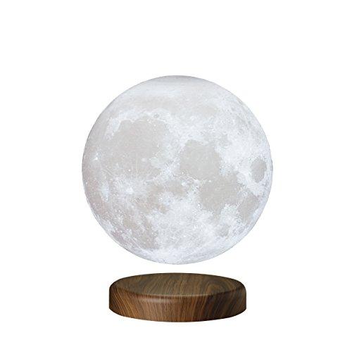 KUNGKEN Magnetic Levitation Floating Moon 3D Printing LED Night Light Rotating Lunar Table Lamp for Home Desk Office Decor 7.1IN