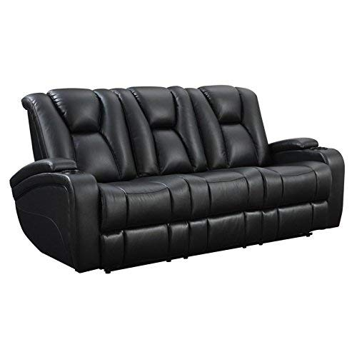 Delange Reclining Power Sofa with Adjustable Headrests and Storage in Armrests Black