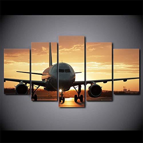 TXFMT canvas foto zonder frame, decoratie, handgemaakt, canvas, doek, wand, kunst, voor de woonkamer, 5 stuks, vliegtuig, afbeeldingen, modulair, HD, opdruk, Golden Sunset, decoratie, thuis, 5-delig 150*100CM