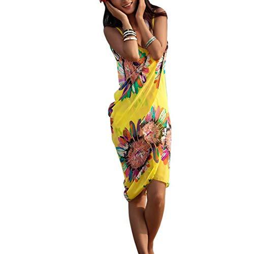 Shujin Vestido de gasa sexy para mujer, cuello en V, tirantes espaguetis, espalda descubierta, vestido de playa con estampado floral para vacaciones, vestido de playa amarillo Talla única