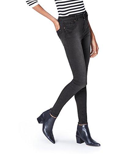 find. Damen Skinny Jeans mit mittlerem Bund, Schwarz (Washed Black), W34/L32 (Herstellergröße: X-Large)