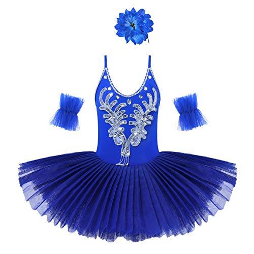 Doomiva Kids Girls Dancer Classic Dancewear Ballet Gymnastics Swan Skirt Stage Performance Professional Dancing Costumes Dark Blue 7-8 Years