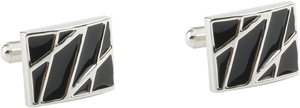 BO LAI DE Men's Cufflinks Square Cross Stripes Black Painted Cuff Links Suitable for Business Events, Meetings, Dances, Weddings, Tuxedos, Formal Wear, Shirts, with Gift Boxes