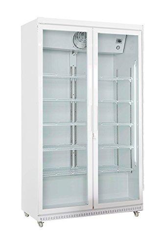 Getränkekühlschrank weiß 197,5 x 112 x 59 cm | Flaschenkühlung, Bierkühlung | Glastür-Kühlschrank mit XXL Stauraum | Gastronomie Kühlschrank mit hohem Kühlvolumen 850 Liter