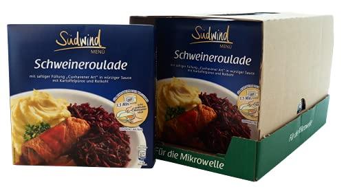 Saftige Schweineroulade in würziger Sauce mit Kartoffelpüree und Rotkohl – 7er Pack (7 x 480g) - Fertiggerichte für die Mikrowelle / Wasserbad - Südwind Lebensmittel