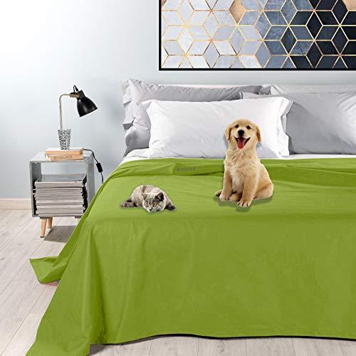 Byour3® Colcha para animales de matrimonio – Tela decorativa de algodón impermeable antimanchas lavable individual plaza primavera verano manta anti pelos gatos perros arañazos (parche, individual)