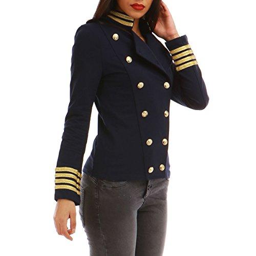 La Modeuse - Veste Style Officier à Manches Longues