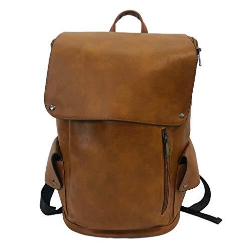 Mochila para portátil de 16 pulgadas, diseño vintage, color marrón, piel sintética