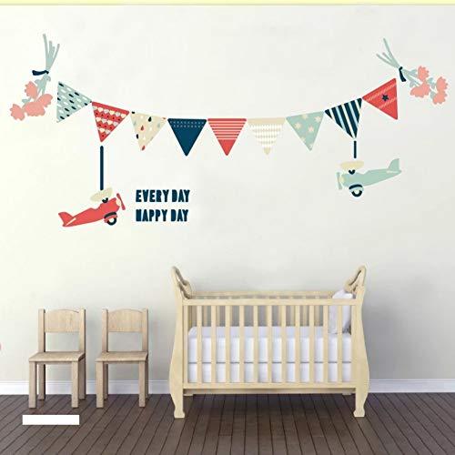 PISKLIU Muurstickers, kleurrijke slinger en mooie bloemen, muurstickers, accessoires voor decoratieve vlaggen, kleuren