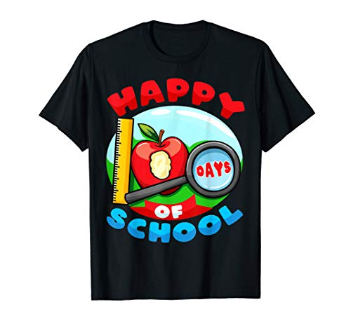 100 Tage Schule Apfel-Lineal-Lupe Geschenk Jungs Mädchen T-Shirt