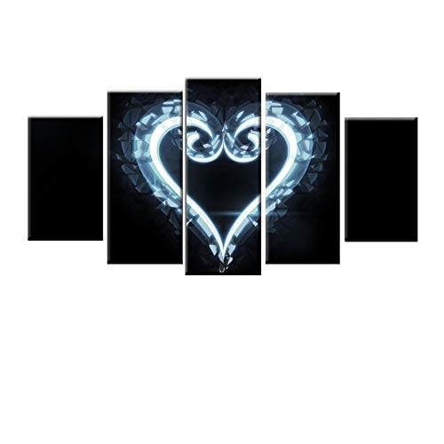 MMLZLZ 5 Consecutive Paintings Printed Wall Art Picture 5 Pieces of Kingdom Heart Canvas Painting Poster and Living Room Wall Painting Anime Poster