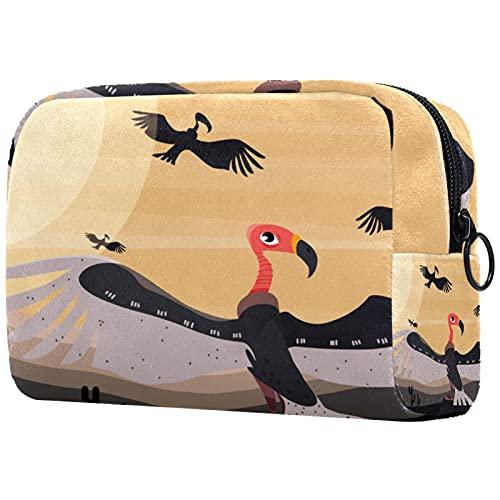 Kosmetiktasche Reise-Toilettenartikel täglich tragbare Make-up-Tasche mit Reißverschluss Zip,Tier Bussard Vogel