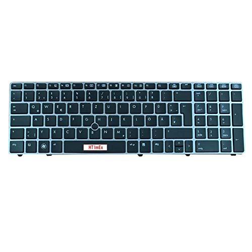Tastatur - Farbe: Schwarz - mit Silber Rahmen - Mausstick Deutsches Tastaturlayout kompatibel für HP EliteBook 8570W 8560W 8560p 8570P