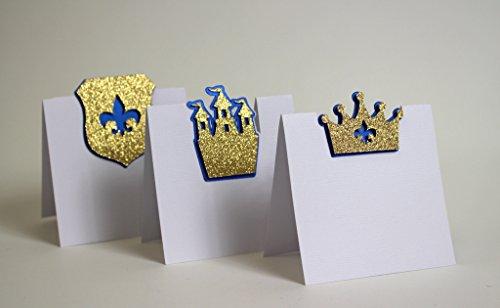 All About Details Royal Blue & Gold Prince Theme Place Cards, 12pcs
