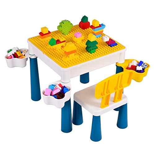 papasbox Mesa de construcción de Actividades para niños Amarilla, fácil de Usar...