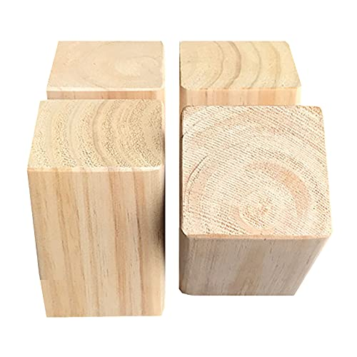 10cm Tall Furniture Increased Device Furniture Raiser Bed Furniture Risers Bed Risers Furniture Riser Wooden Bed Lifts Heavy Duty Wood Risers for Sofa Table and Chair 4-Piece Set (6x6cm)