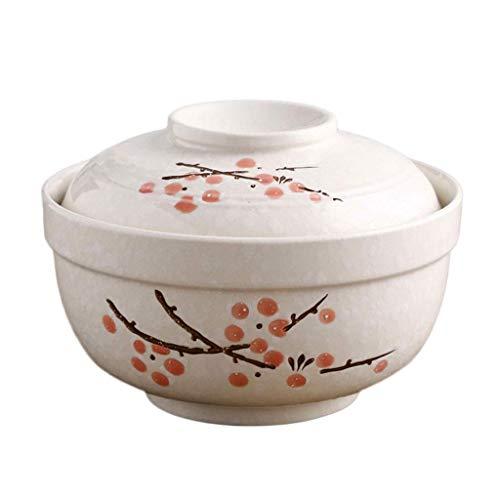Plato de porcelana, Tazón de cerámica de estilo japonés Tazón de cerámica con tapa Tazón de ramen de porcelana con copo de nieve creativo Tazón de almuerzo de fideos instantáneos de estilo japonés Taz