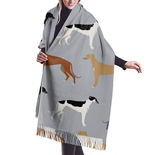 Mujer Otoño Invierno Bufanda Galgos Versión Más Grande Perros Galgo Abrigos Colores Clásico Bufanda Caliente Suave Grande Manta Envoltura Chal Bufandas