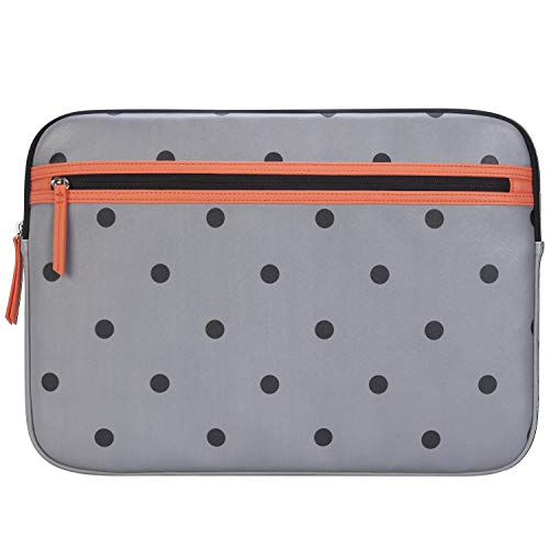 Targus Arts Edition Slim Protective Sleeve for 15.6-Inch Laptop Case with Zippered Pocket, Soft Shell Smooth Material, Polka Dot Design, Gray/Salmon (TSS999GL)