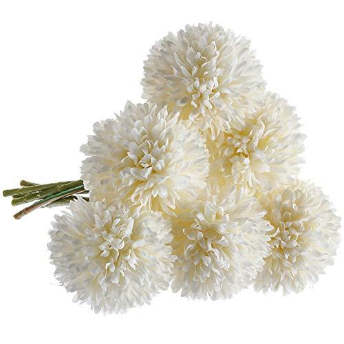 CQURE Artificial Flowers, Fake Flowers Silk Plastic Artificial Hydrangea 6 Heads Bridal Wedding Bouquet for Home Garden Party Wedding Decoration 6Pcs (White)