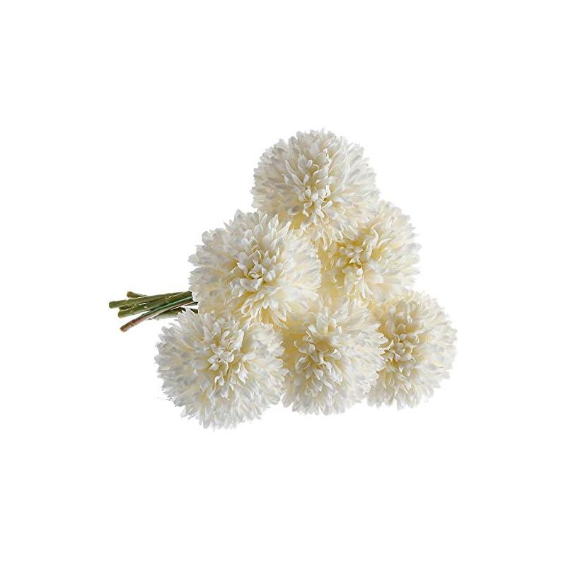 silk flower arrangements cqure artificial flowers, fake flowers silk plastic artificial hydrangea 6 heads bridal wedding bouquet for home garden party wedding decoration 6pcs (white)