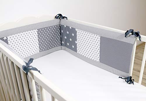 Bettumrandung für Babybett 70x140 cm | Made in EU | ÖkoTex 100 | Schadstoffgeprüft | Antiallergisch | Baby Nestchen für den Kopfbereich | Umrandung Babybett | Graue Sterne | ULLENBOOM ®