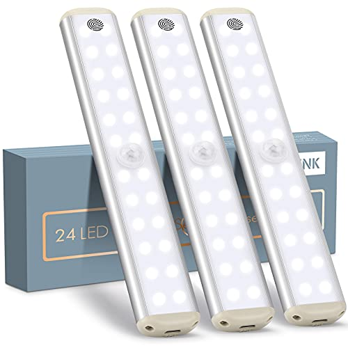 YOUTHINK 3 Pack Luz Armario 24 LED, Led Sensor Armario Diseño de Inalámbrico Atenuación y Táctil, 3 Modos Magnéticas Pegadas Luces Lámpara Nocturna USB Recargable para Escaleras, Armario, Garaje