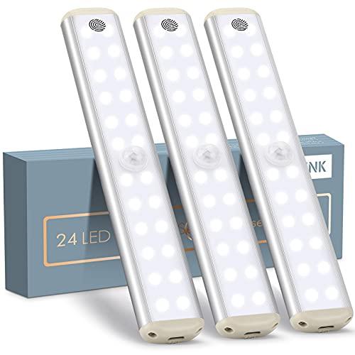 LED Schrankbeleuchtung mit Stufenlos Bewegungsmelder, YOUTHINK Kabellos Schranklicht Berührungssteuerung Nachtlicht Eingebauter Magnet mit Wiederaufladbare für Küche, Treppen, Kleiderschrank (3)